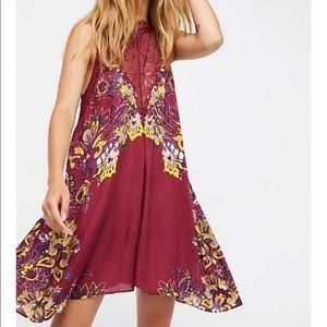 nwt // free people marsha printed lace slip dress